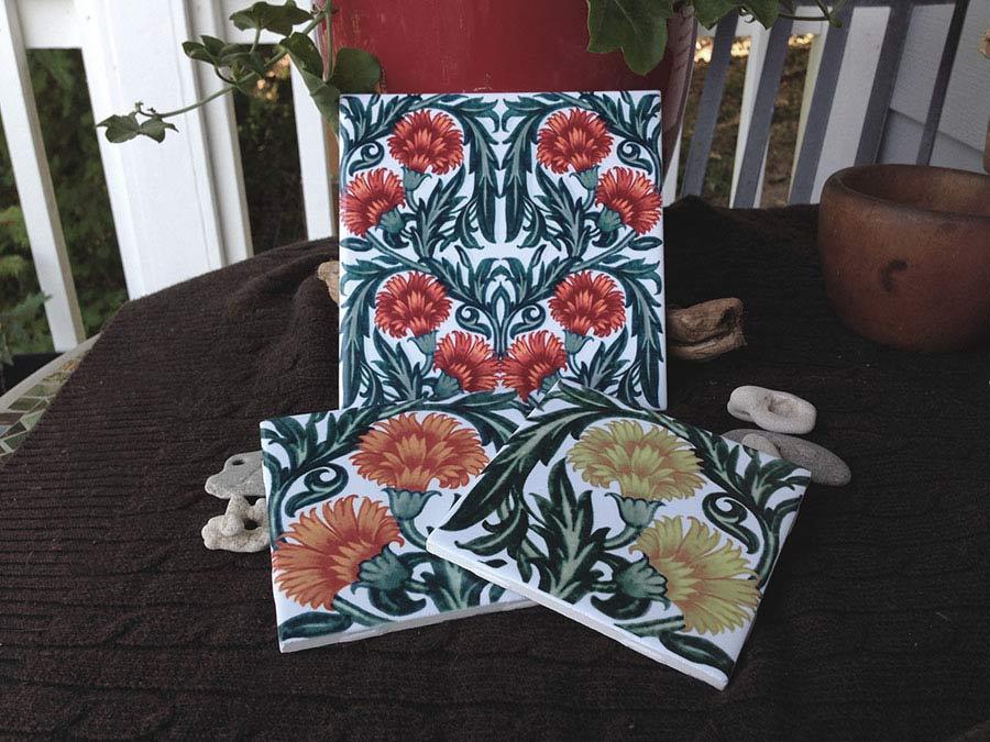 William De Morgan carnation tiles in sunny colors