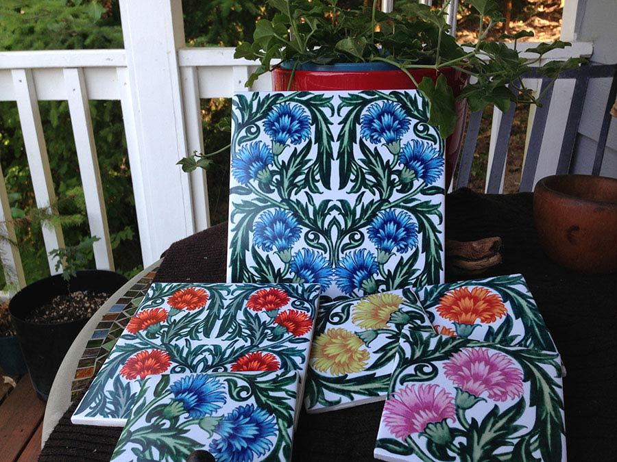 William De Morgan ceramic carnation tiles in sunny colors