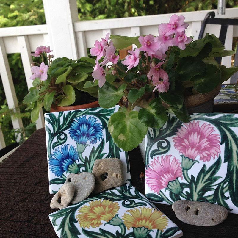 William De Morgan carnation tiles in pastel colors
