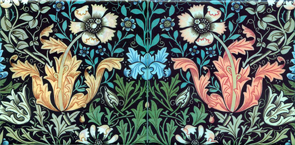 William Morris Tile: Compton, spring colorway in Gold and Salmon variations
