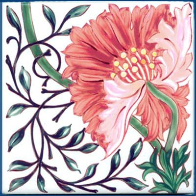 William Morris Poppy Tile, Morris & Co 1870s