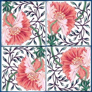 William Morris poppy tile in salmon pink, blue, yellow, and tangerine.  Available in 4.25 and 6 inch tiles. Pinned for later from williammorristile.com