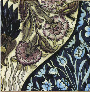 William Morris flowerpot mural single tile