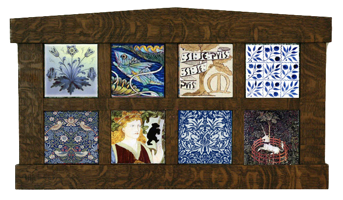 Framed William Morris textile patterns on tile