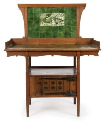 Arts and Crafts Washstand with De Morgan Tiles