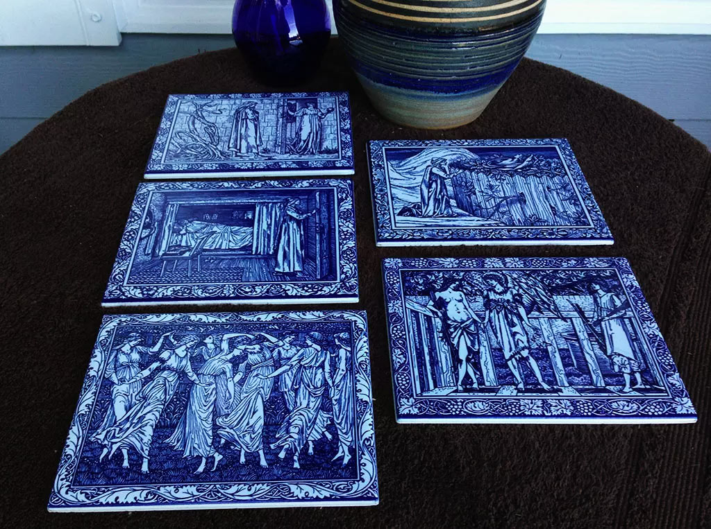 Kelmscott Chaucer tiles, William Morris Cobalt and white tile.