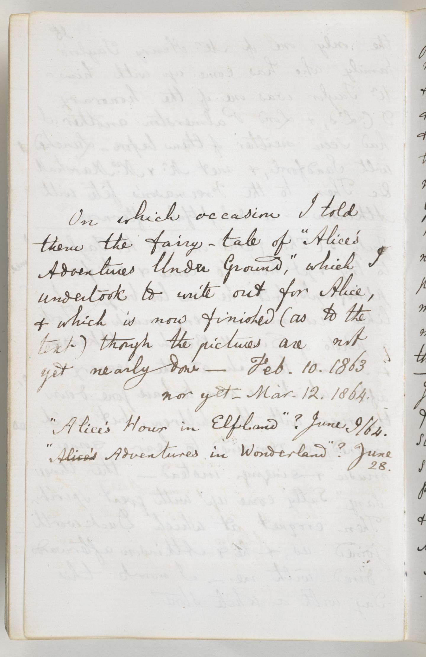Entry from Lewis Carroll's diary, 1862-1864, where he notes the first telling of Alice to Alice Liddell and her sisters.
