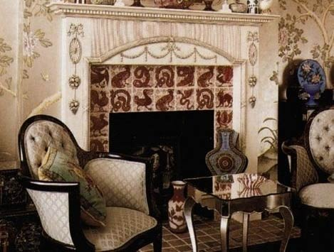 Victorian fireplace featuring De Morgan red lustre fantastic birds and beasts