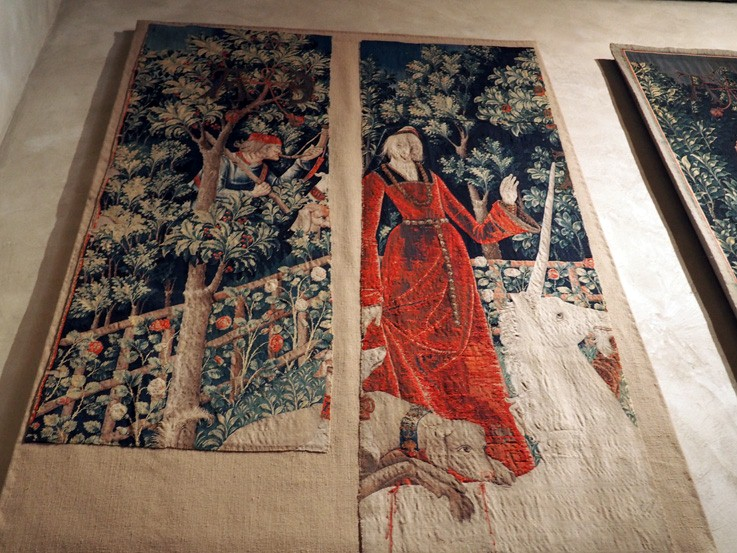 Remaining fragments of the Unicorn Captured by the Maiden tapestry