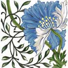 William Morris Poppy Tile, Morris & Co 1870s, blue colorway