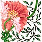 William Morris Poppy Tile, Morris & Co 1870, salmon colorway