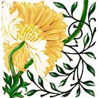 William Morris Poppy Tile, Morris & Co 1870, yellow colorway