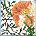 William Morris Poppy Tile, Morris & Co 1870s, orange colorway