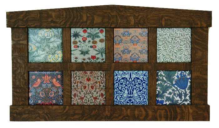 William Morris tiles from textiles in Arts and Crafts frame by David Eklund