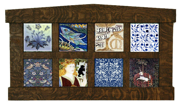 Framed William Morris textile patterns on tile. Top: Columbine, DeMorgan Fish, William Morris Red House Garden Tile, Nine Patch Blue Foliage. Bottom: Strawberry Thief, Beauty and the Beast, Brother Rabbit, The Hunt for the Unicorn