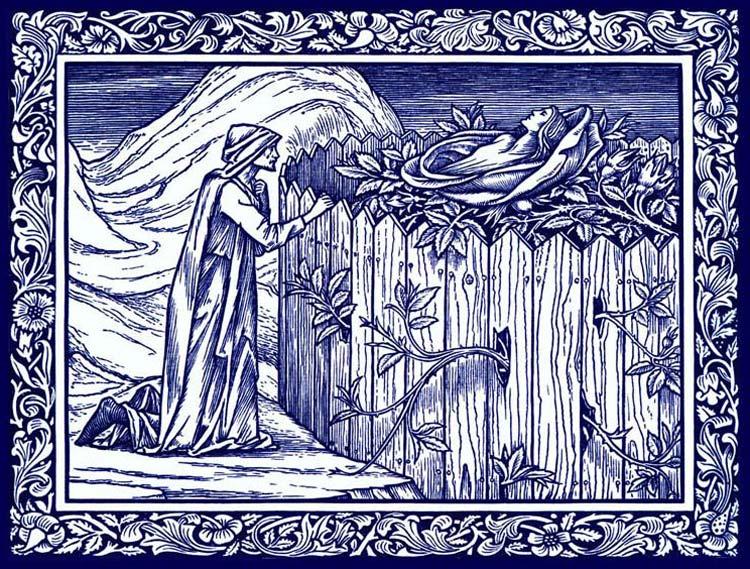 Kelmscott Chaucer illustration by Edward Burne-Jones: Romance of the Rose.  Cobalt and white tile.