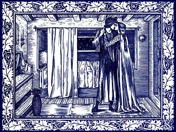 Kelmscott Chaucer illustration by Edward Burne-Jones: Troilus and Criseyde.  Cobalt and white tile.