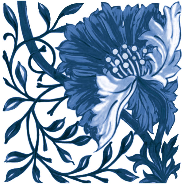 William Morris blue and white poppy tile