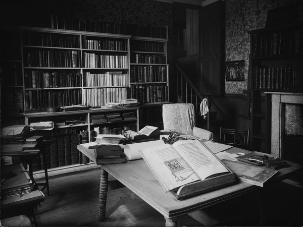 William Morris's Kelmscott Press workroom at Kelmscott House. Note artichoke tiles on fireplace.