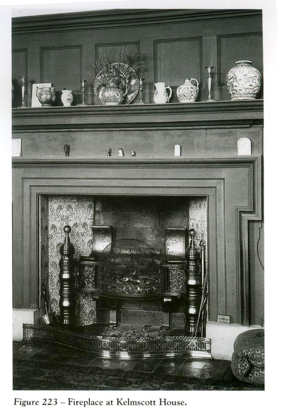 William Morris's Kelmscott House drawing room fireplace, featuring poppy tiles