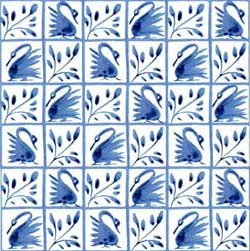 Fairy tale swan surround from The Hill, in 36 squares on 6-inch tile