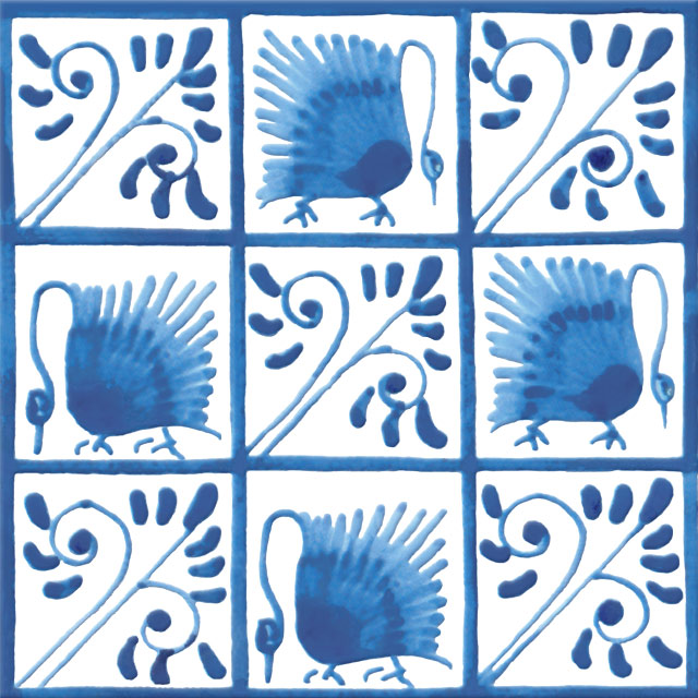 Green Drawing Room Fireplace Swans, 4.25 inch tiles