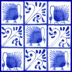Kelmscott swans, five swan variation on 4.25 inch tile, alternating with boughs