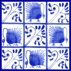 Kelmscott swans, five bough variation on 4.25 inch tile, alternating swith swans