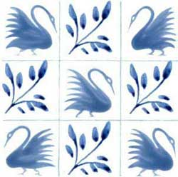 Unbordered swan tiles left version with four swans, alternating with boughs
