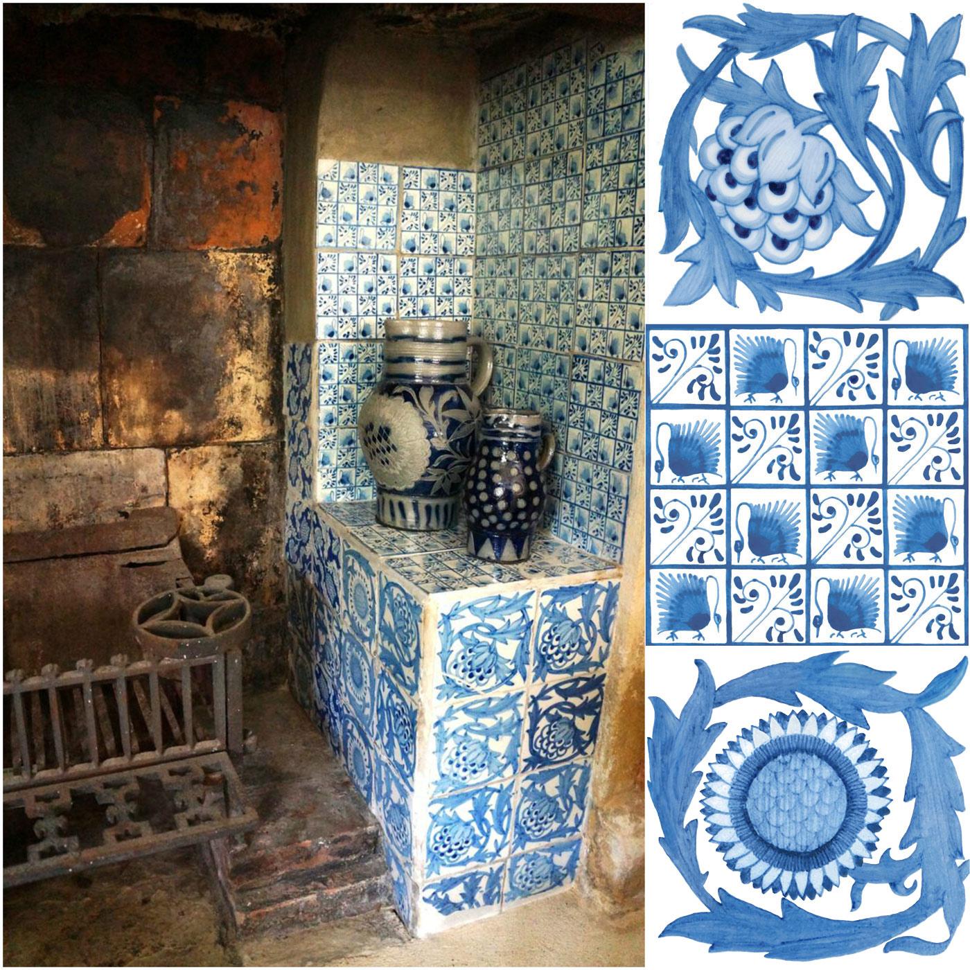 Kelmscott Manor: Green Drawing Room Fireplace Tiles