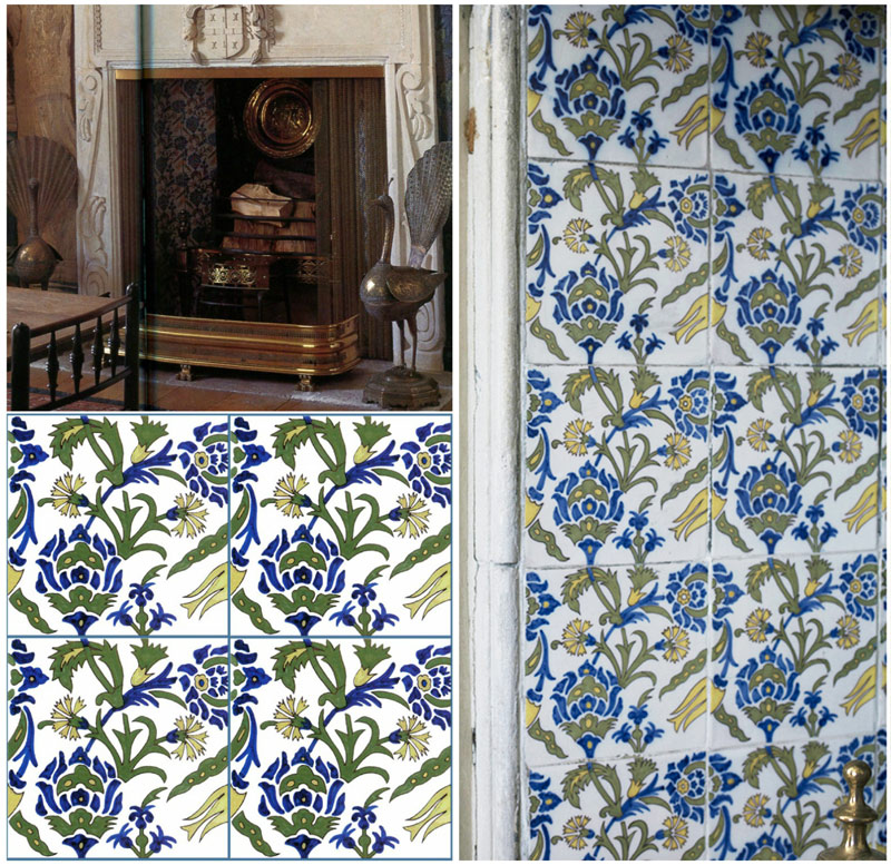 Kelmscott Manor Tapestry Room, Iznik Tiles