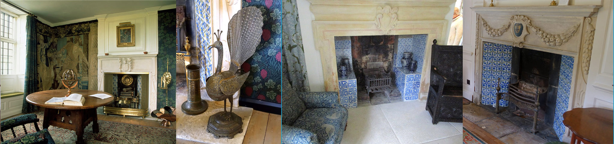 Kelmscott Manor Fireplaces. From left: Tapestry Room, Green Drawing Room, White Paneled Drawing Room