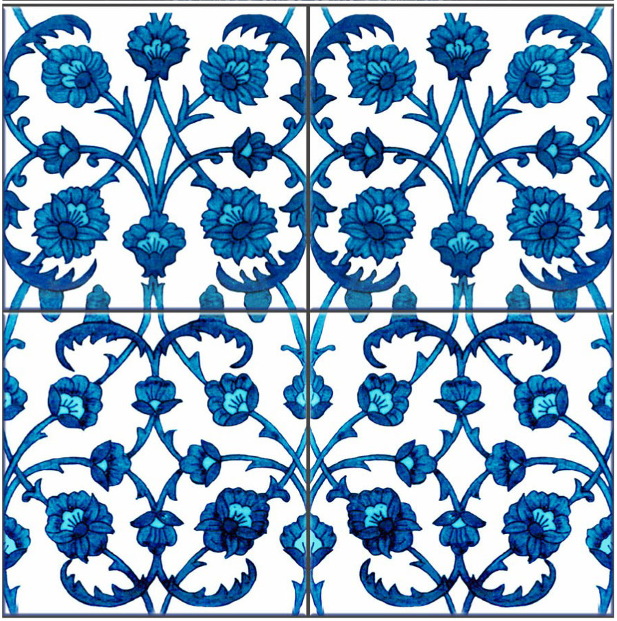 Kelmscott Manor Persian Diaper tiles, blue variant