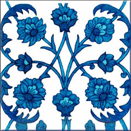 Morris and Co. Iznik reproduction tile, Kelmscott Manor White Paneled Drawing Room