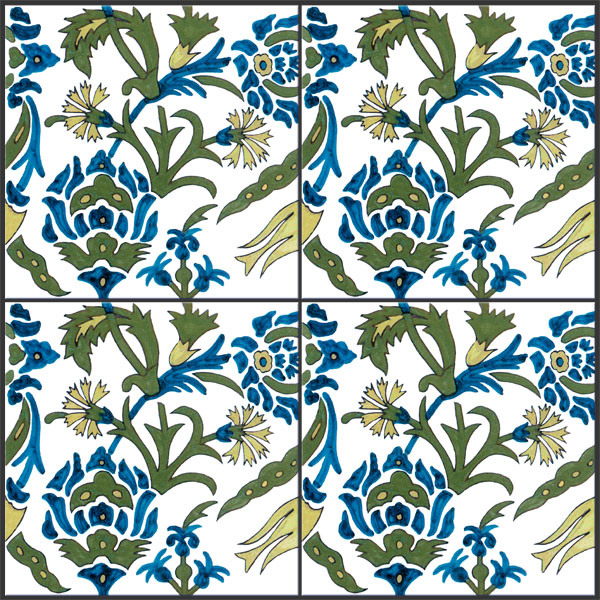 Morris and Co. Iznik reproduction tiles, produced on commission for Murray Marks