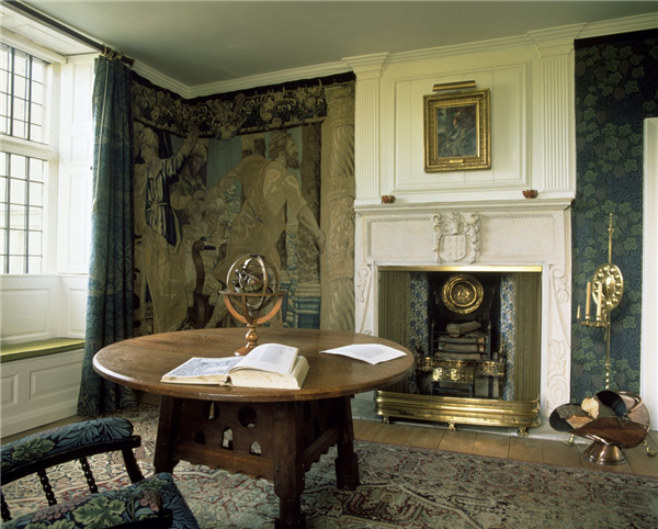 Morris's Iznak Tiles in White Panelled Sitting Room at Kelmcott Manor
