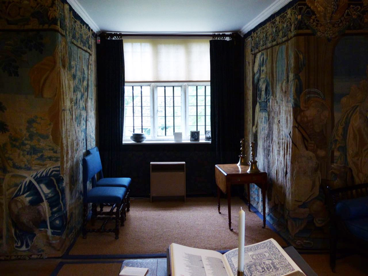 Tapestry room at Kelmscott Manor with Rossetti table.