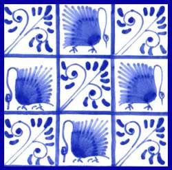 Kelmscott swans, five bough variation on 4.25 inch tile, alternating swith swans