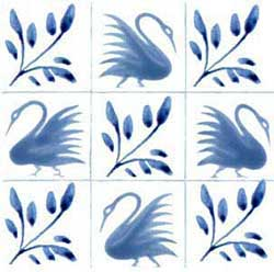 Unbordered swan tiles right version with five swans, alternating with boughs