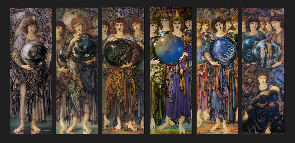 Edward Burne-Jones, Days of Creation Angels.  Jenny Morris, William's elder daughter, was the model for the angels