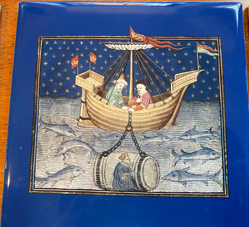Alexander the Great lowered into the sea in a barrel