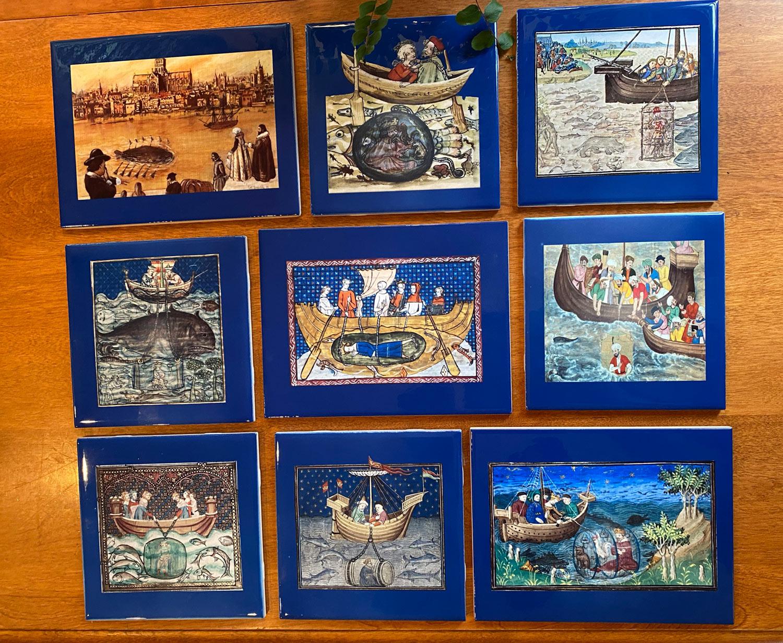 Nine-tile set of medieval submarines