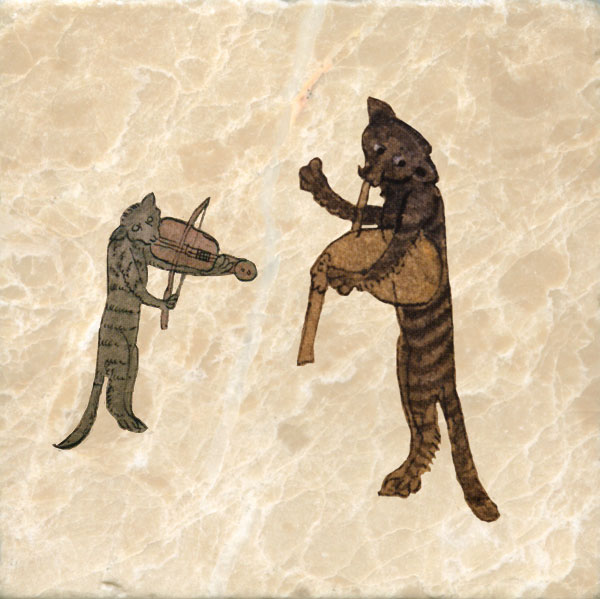 Medieval cats playing a fiddle and bagpipe 1320