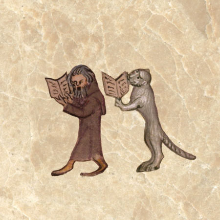 Medieval cat and monk walking and praying