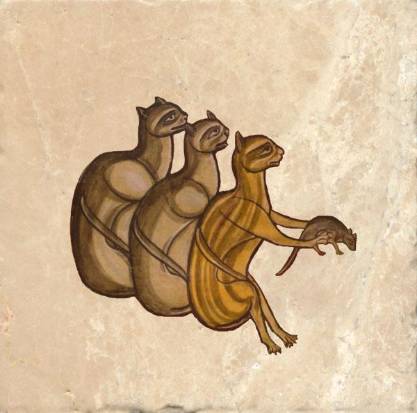 Three mid-13th century cats from the Harley Bestiary
