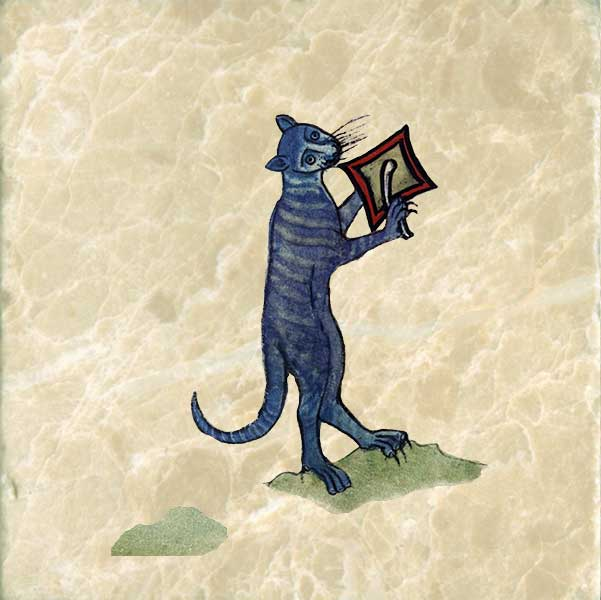 Book of Hours cat beating a cymbal from The Funeral of Renard the Fox