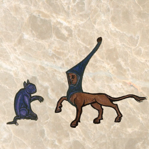 Cat confronting a satyr. The satyr is mentioned in the Bible; the cat is not.