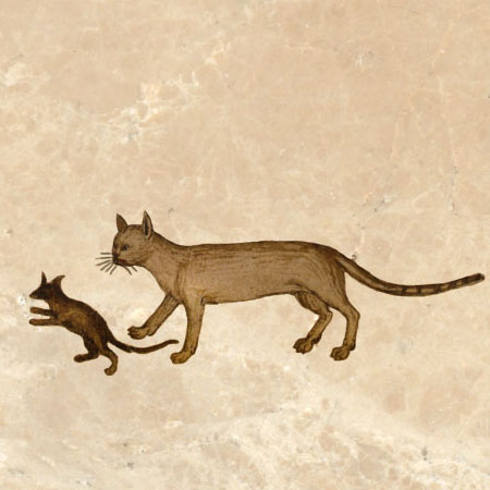 Rochester bestiary cat with dancing mouse