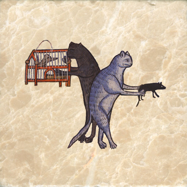 13th century bestiary cats with bird cage