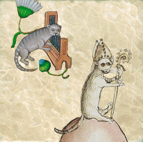 Cat playing organ and cat Bishop, 15th Century German cat